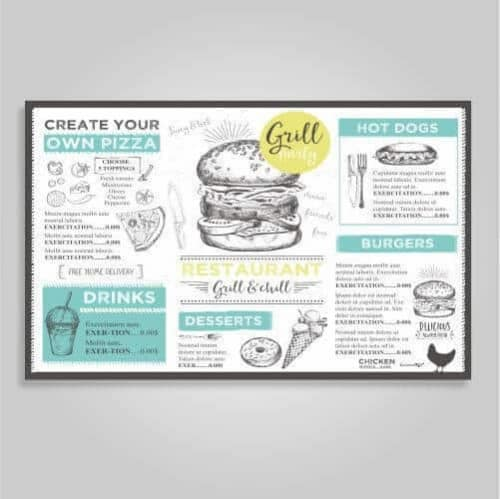 laminated counter menus